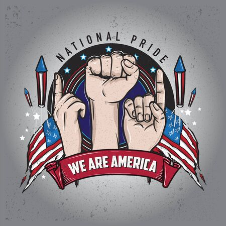 we are america illustration with strong hands up