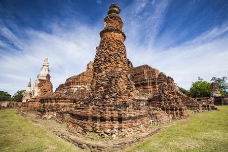 ayuttaya: Ancient templewith blue sky in Ayuttaya, Thailand