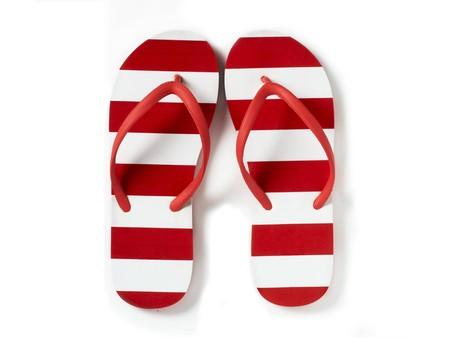 sandles: flip flops on a white background