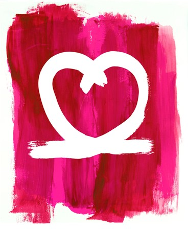 loosely: a painted love heart shape on a loosely painted pink background