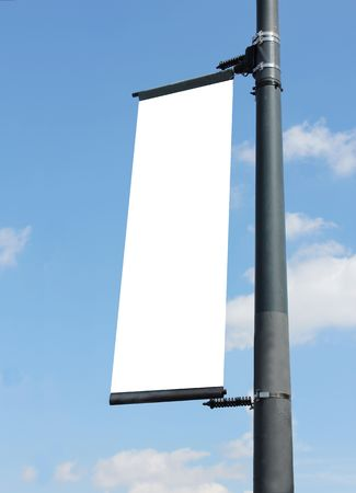 lampost: blank poster on lampost with blue sky