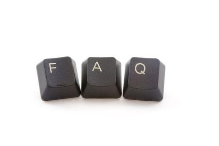 FAQ formed by keys of a computer keyboard