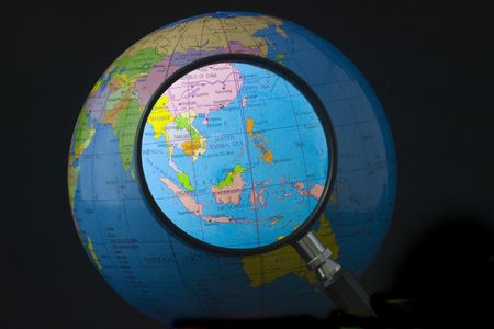 southeast asia: Magnifying glass focusing on South east Asia