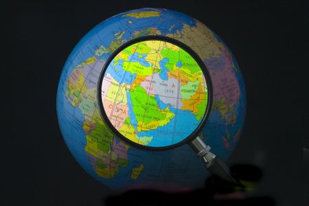 syria: Magnifying glass focusing on Middle East Stock Photo