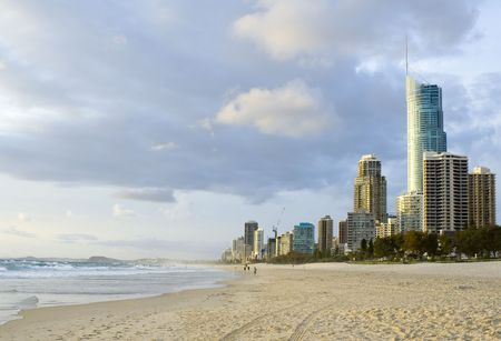 surfers: Beach at Surfers Paradise in Gold Coast, Queensland Australia Stock Photo
