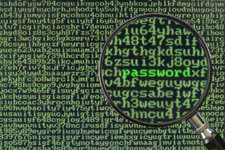 Screen full of alphanumerics depicting encryption and the word password emphasized by a magnifying glass Stock Photo - 736287