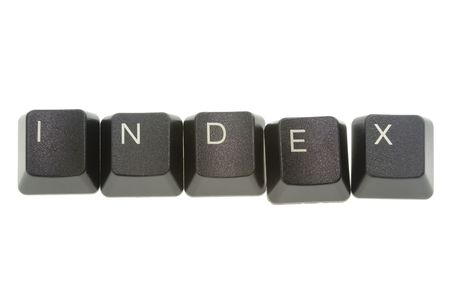 formed: INDEX formed by keys of a computer keyboard Stock Photo