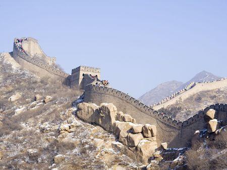 badaling: Grande muraglia cinese a Badaling in inverno