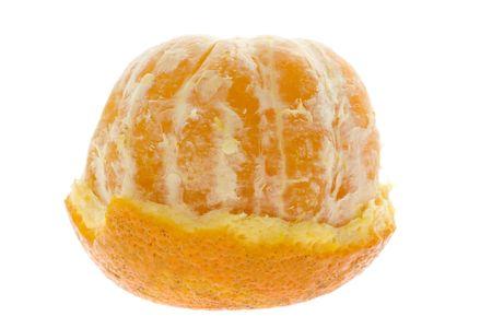 clementine fruit: Half peeled mandarin orange isolated on white background