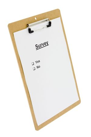 tickbox: Survey form on a clipboard isolated on white background