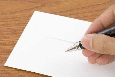 garabatos: Manos escrito en el reverso de un sobre  Foto de archivo