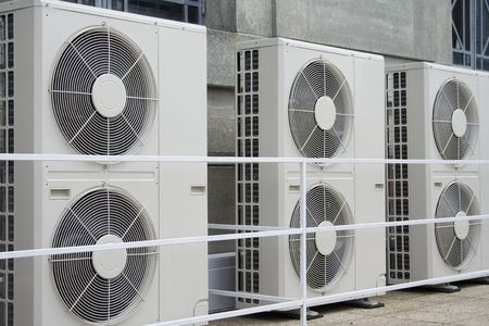 humid: Row of air conditioners