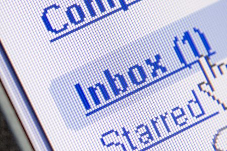 Monitor screen showing email in the inbox Stock Photo