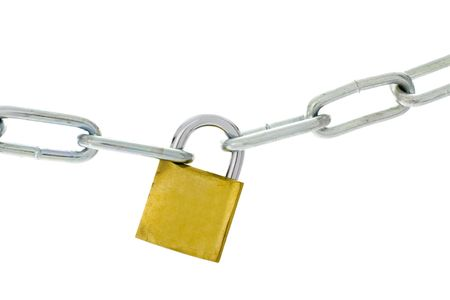 Chain and padlock isolated on white background Stock Photo - 875446