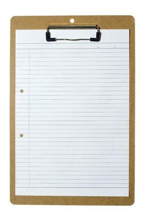 dopisní papír: Piece of blank writing paper held on a clipboard