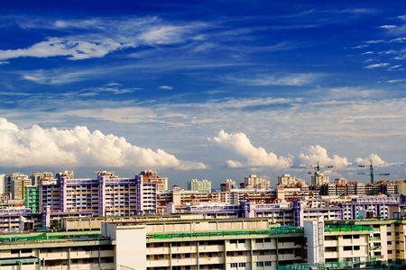 Skyline in Singapore showing blocks of public housing