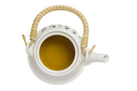 chinese tea pot: Vista superior de una olla de t� chino aislados en fondo blanco  Foto de archivo