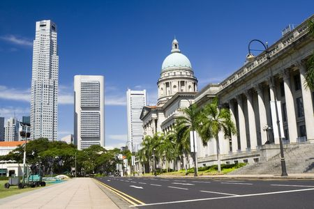 Central district of Singapore showing modern and old buildings
