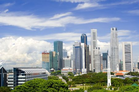 Cityscape of Singapore showing the financial district photo