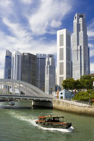 singapore building: View of Singapore financial district with Singapore River in the foreground