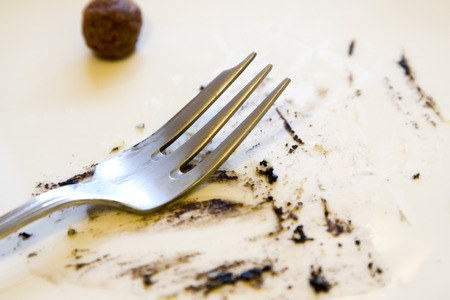 dirty dishes: Dirty empty plate with a fork after a meal