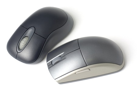 Two computer mouse isolated on white background Stock Photo