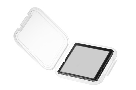 casing: Compact Flash memory card in plastic casing isolated on white background