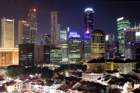 Singapore cityscape at night showing the financial district