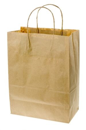 paperbag: Brown paper bag isolated on white background Stock Photo