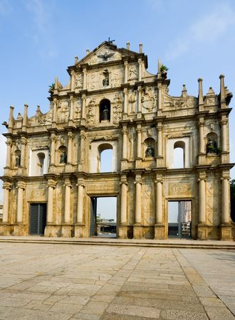 Ruins of Saint Pauls Cathedral in Macau Фото со стока