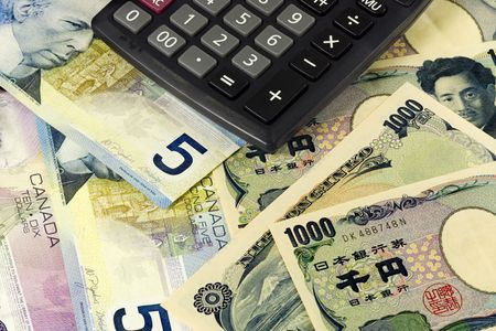canadian currency: Canadian and Japanese currency pair commonly used in forex trading with calculator