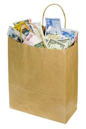 paperbag: Paperbag full of currency notes of various countries