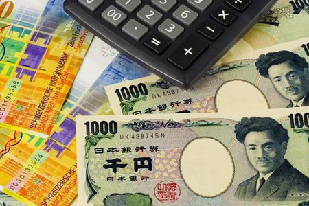japanese currency: Swiss and Japanese currency pair commonly used in forex trading with calculator Stock Photo