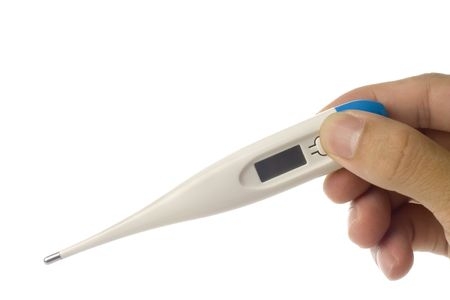 digital thermometer: Hand holding a digital thermometer isolated on white background