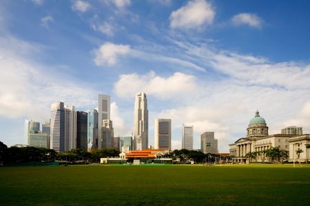 Skyline of the financial district in Singapore photo