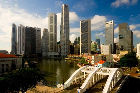 Skyline of the financial district in Singapore