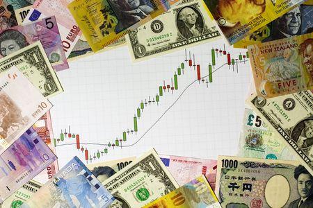 bullish: Candeliere grafico che mostra un mercato rialzista circondato da monete di vari paesi