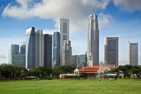Skyline of the financial district of Singapore Stock Photo