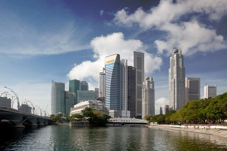 Cityscape of Singapore showing the financial district across the Singapore River Stock Photo