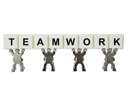 camaraderie: Figurines with teamwork isolated on white background