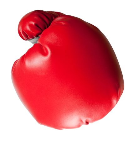 Closeup of a punch using a boxing glove isolated on white background