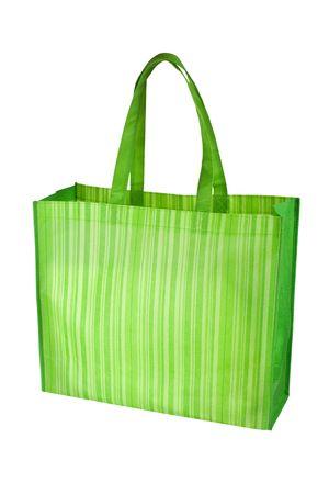 bolsa supermercado: Bolsa de vac�o comestibles reutilizables verde aislado sobre fondo blanco