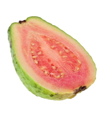 Cross section of a pink guava isolated on white background Stock Photo