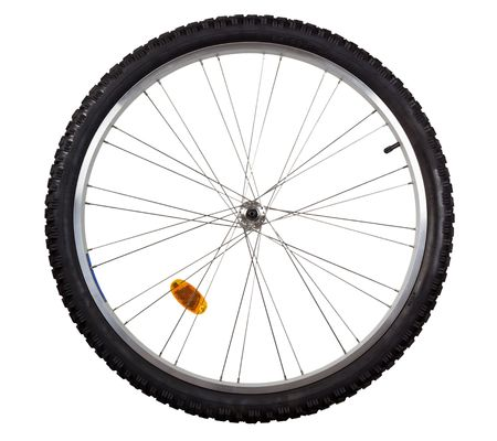 Front wheel of a mountain bike isolated on white background Stock Photo