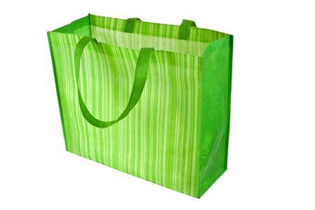 reusable: Vuoto verde riutilizzabili shopping bag isolato su sfondo bianco