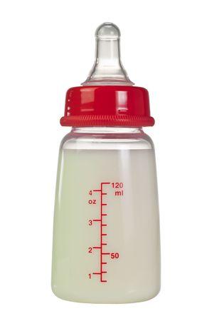Bottle of infant formula milk isolated on white background