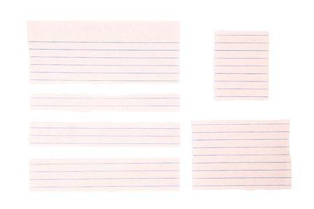 dopisní papír: Stripes of writing paper isolated on white background