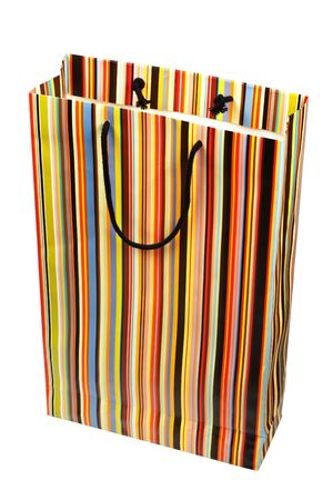 paperbag: Colorful striped paperbag isolated on white background