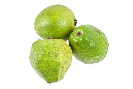 superfruit: Three pink guavas isolated on white background Stock Photo