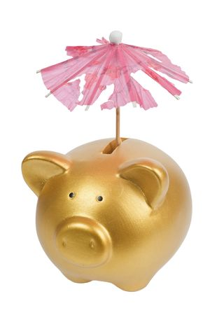 insufficient: Gold piggy bank with tattered umbrella isolated on white background